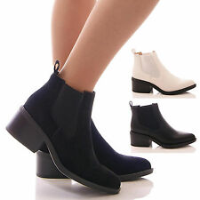 LADIES WOMENS BLACK ANKLE BOOTS CHELSEA CASUAL LOW BLOCK HEEL SHOES SIZE
