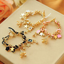 Charming Eiffel Tower Star Flower Leather Crystal Chain Bangle Bracelet Jewelry