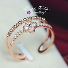 Double Band Four Clove SWAROVSKI Crystal Pinkie Finger Ring,18K Rose Gold Plated