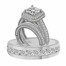 3.78Ct Princess Cut Micro Pave Engagement Ring Available 925 or 10k & 14k Gold