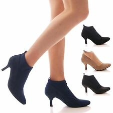 LADIES WOMENS ANKLE BOOTS STRETCH LOW KITTEN HEEL POINTY PULL ON SHOES SIZE
