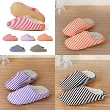 Women Men Striped Comfort Warm Winter Shoes Slippers Antislip Home Indoor Sandal