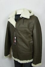 Taupe Men B3 100% Shearling Leather Sheepskin Bomber Flight Jacket Coat S-8XL