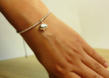 925 Sterling Silver Adjustable Cord Friendship Puff Heart Charm Bracelet