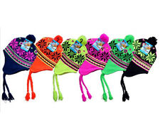 New Winter Knit Hat Beanie Earflap Snowflakes Insulated Fleece Ski,6 Neon Colors