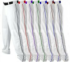 Alleson Mens Open Bottom Baseball Softball Pants White With  Braid Piping 605WLB