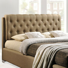 Queen Upholstered Platform Bed Tufted Details - Latte