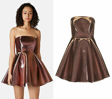TOPSHOP Strapless Metallic Skater Dress RRP £75
