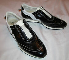 SALVATORE FERRAGAMO slip on patent black / white leather fashion sneakers shoes