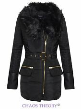 New Ladies Padded Quilted Belted Jacket Fur Collar Winter Coat Womens Size 8-16