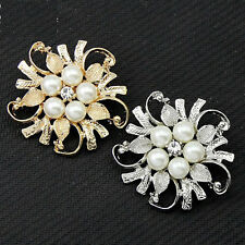 Flower Faux Pearl Rhinestone Crystal Wedding Costume Jewelry Brooch Pin Broach