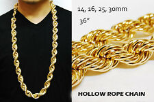 "RUN DMC 14 & 16 & 25 & 30mm HOLLOW GOLD PT THICK ROPE 36"" NECKLACE DOOKIE CHAIN"