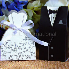 50/100/150 Wedding Favor Boxes Dress & Tuxedo Bride Groom Shower Party Style 3