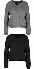 Womens Diamond Quilted Fleece Bomber Jacket Ladies Vintage Zip up Biker Coat