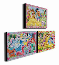 DISNEY PRINCESS PALACE PETS - Set of 3 Mounted Canvas Prints Pictures - 2 sizes