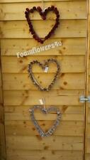 Heart Shabby Chic Pine Cone Love Heart Christmas Door Wreath Wall Gold Pink