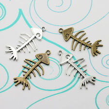 3/10/15pcs Ancient silver Delicate alloy Lovely fish bone Charm Pendant 41x20mm