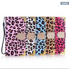 Deluxe Leopard Bling Diamonds Leather Wallet Flip Case Cover For Samsung S4
