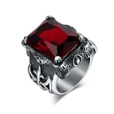 Men Silver Dragon Claw Ruby Red CZ 316L Stainless Steel Cross Biker Ring