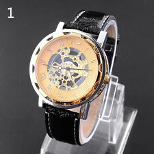 Fasion Men's Skeleton Mechanical Leather Stainless Steel Leather Wrist Watch