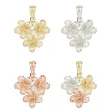 14k Solid Gold Hawaiian Plumeria Flower Pendant in Yellow,White,Rose & Tri-Color