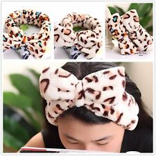 Women Bowkont Soft Headband Leopard Wash Makeup Bath Spa Shower Elastic Hairband