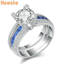 Newshe Blue CZ 925 Sterling Silver Wedding Engagement Ring Set Gemstone Sz 5-10
