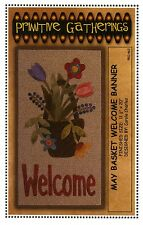 May Basket Welcome Banner Pattern or Wool Kit/Pattern from Primitive Gatherings