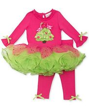 Rare Editions Holiday Christmas Tree TuTu Skirted Top and Legging Set