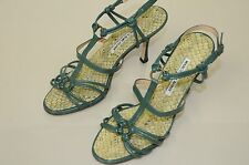 $835 New Manolo Blahnik  90 Green Leather Snake Brocade Strappy Sandals Shoes 37