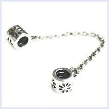 925 Sterling Silver Daisy Screw-on Safety Chain Bead f/ European Charm Bracelet