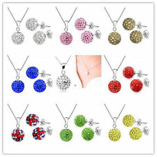 Fashion Jewelry Crystal 10mm Disco Ball 925Silver chain Necklace Earrings set