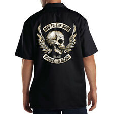Dickies Black Mechanic Work Shirt Bad To The Bone Cradle To Grave Biker Skull