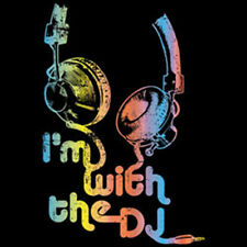 I'm With The DJ Neon Colors Headphones Music Party Funny T-Shirt Tee