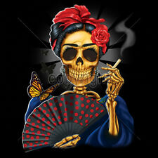 Frida Skeleton Skull Fan Butterflies Smoking Day Of The Dead Cool T-Shirt Tee