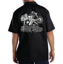 Dickies Black Mechanic Work Shirt Body Shop Classic Biker Motorcycle Pin Up Girl