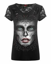 Spiral Death Mask Gothic Black Ripped Lace Top Tee Goth Punk Emo
