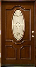 """Mahogany 42"""" Front Entry Door Pre-hung&Finished, SMH7350-42-GL04"""