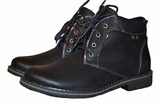 Men's Real Genuine Leather Casual Formal Black Laced Up Shoes Made Poland Mens
