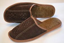 Mens Thick Dark Brown Suede With Wool Slippers Shoes Sandal Handmade In Poland