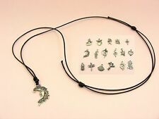 Silver Tone CHARM Pendant Black Adjustable Cord Choker NECKLACE ~Various Style~
