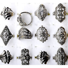 100/50pcs Wholesale Lots Vintage Jewelry Silver Cocktail Alloy Rings Mix Style