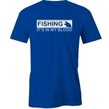 Fishing It's In My Blood T-Shirt Funny Angler Bait Fisherman Fish Hobby Tee New