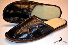 Mens Real BLack Leather Warm Slippers Shoes Sandals Wool Handmade In Poland Soft