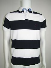 TOMMY HILFIGER Mens Navy  White Striped Graphic Polo Shirt S XXL NEW WITH TAGS
