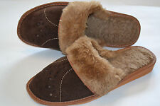 Womens Ladies Real Suede Brown Wool Shoes Slippers Sandals Warm Handmade Poland