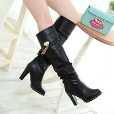 Womens Fashion Pull On High Block Heel Slouched Casual Knee High Boots Shoes Hot