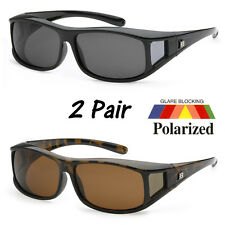 2 Pairs POLARIZED cover put over Sunglasses wear Rx glass fit driving SIZE LARGE
