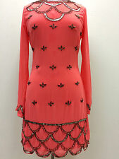 New Coral 1920's Gatsby fully embellished shift dress sizes 8 10 12 14 16 18 20