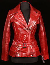 Diaz Red Ladies Women's New Retro Real Cow Hide Glazed Military Leather Jacket